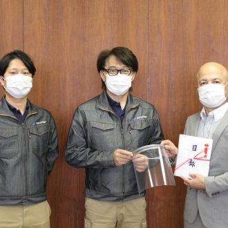 Face shields made by AeroEdge donated to the city of Ashikaga.